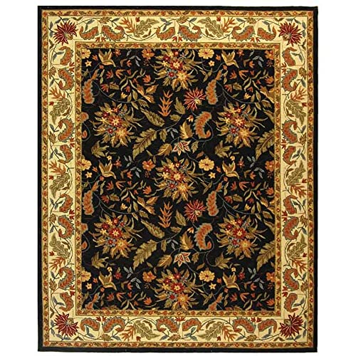 Safavieh Chelsea Collection HK141B Hand-Hooked Black Premium Wool Area Rug 6 x 9