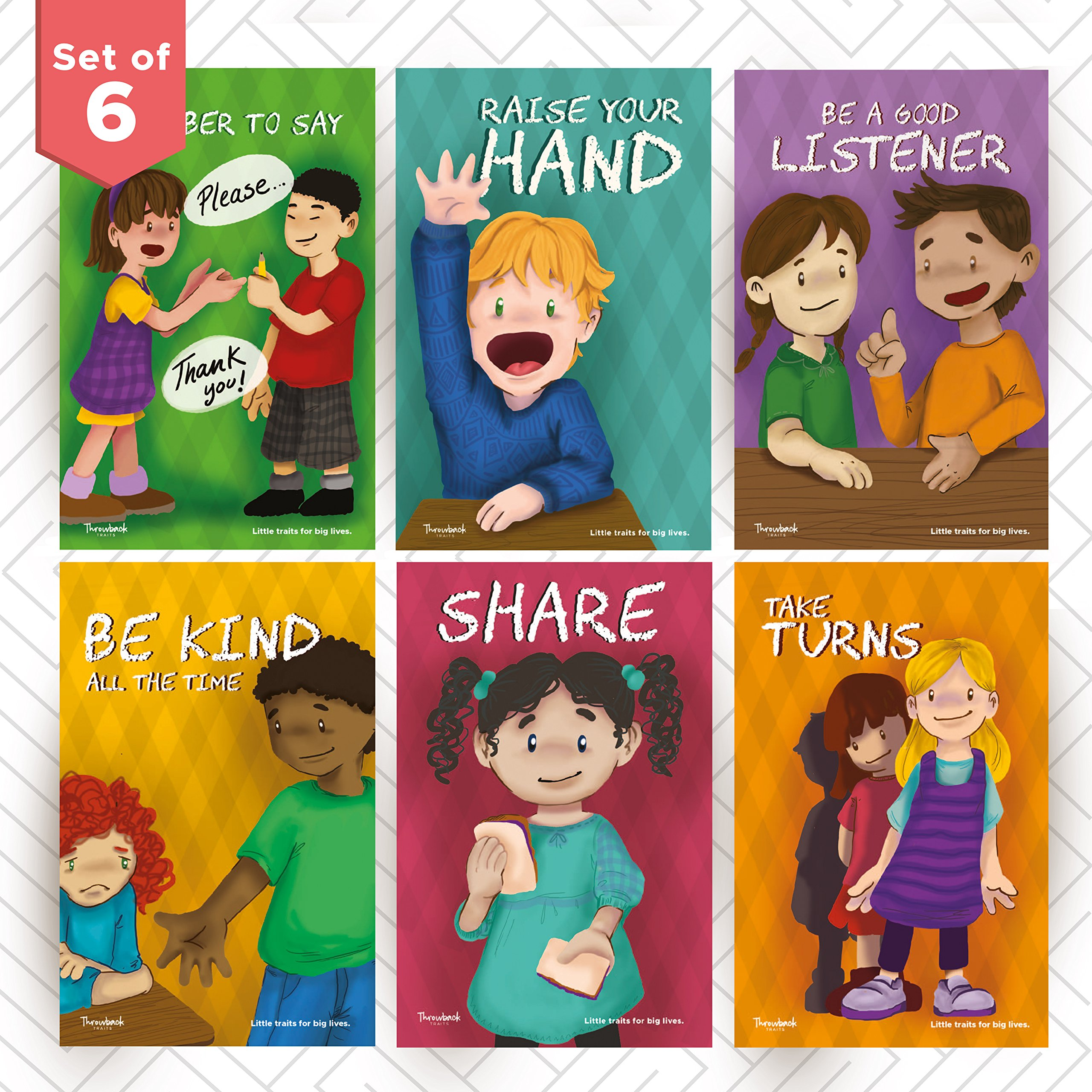 Throwback Traits Six Educational Preschool - Daycare Posters for Toddlers and Kids in Kindergarten. Great for Children's School Classrooms. Teaching our Children Values is Important.