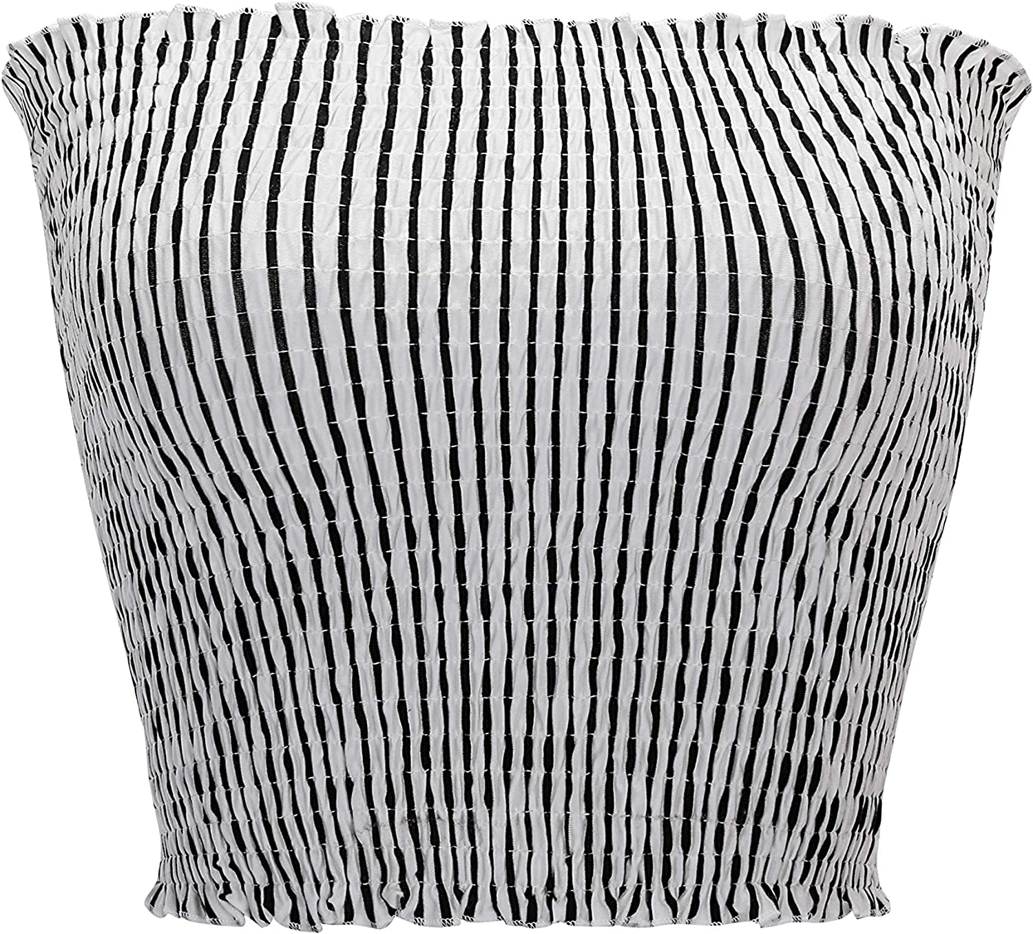 KalyChic Womens Summer Casual Strapless Pleated Print Bandeau Tube Crop Tops