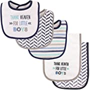 Luvable Friends Bib and Burp Cloth Set, Thank Heaven for Boys