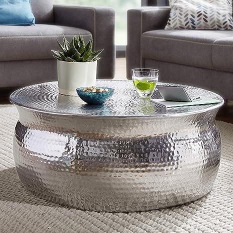Finebuy Couchtisch Karem 75x31x75cm Aluminium Silber Beistelltisch