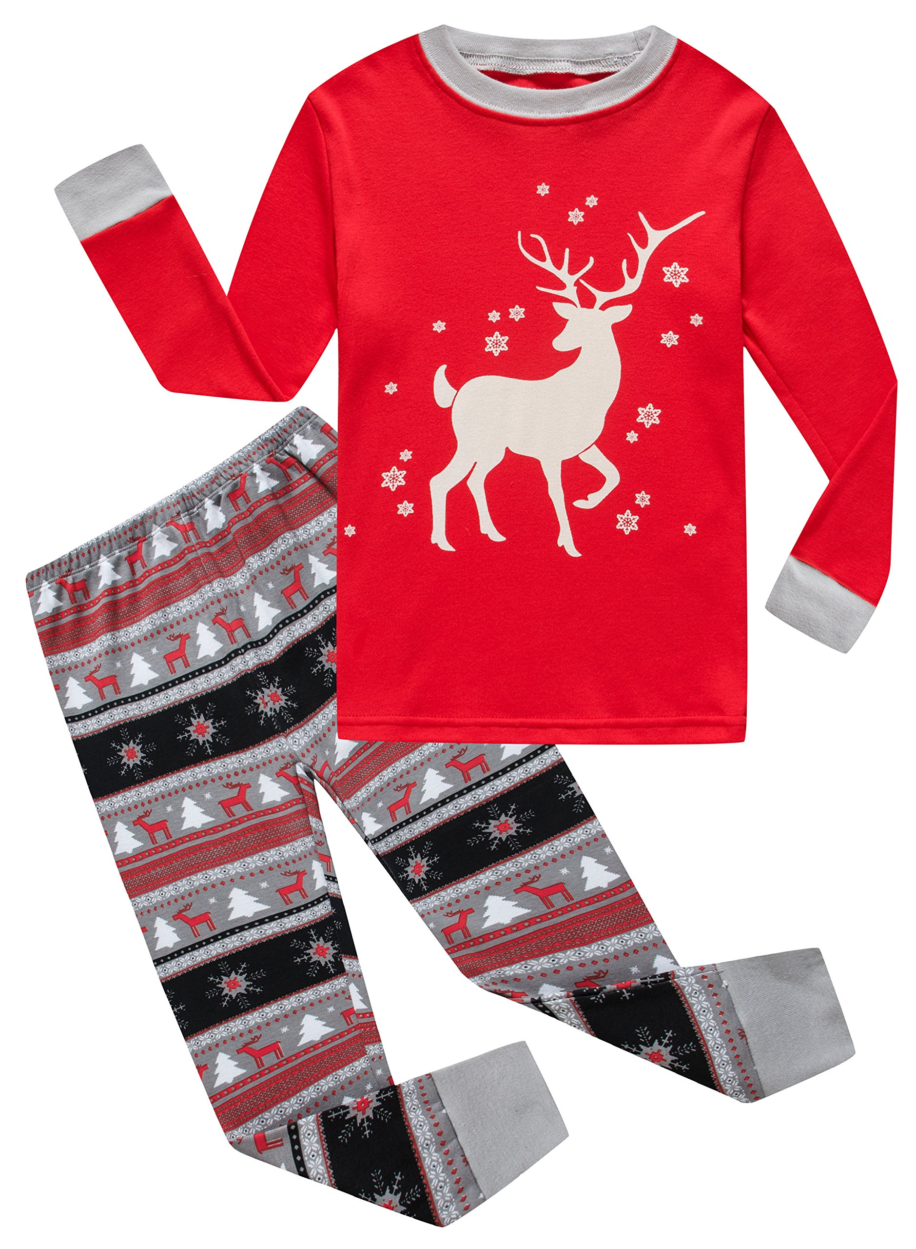 Family Feeling Little Girls Long Sleeve Christmas Pajamas Sets 100% Cotton Pyjamas Toddler Kids Pjs Size 4T Reindeer