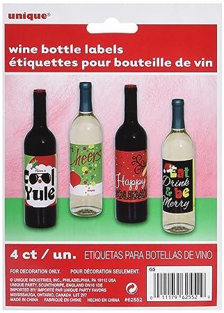 Amazon.com | Christmas Gift Wine Bottle Labels, Assorted 4ct: Bar ...