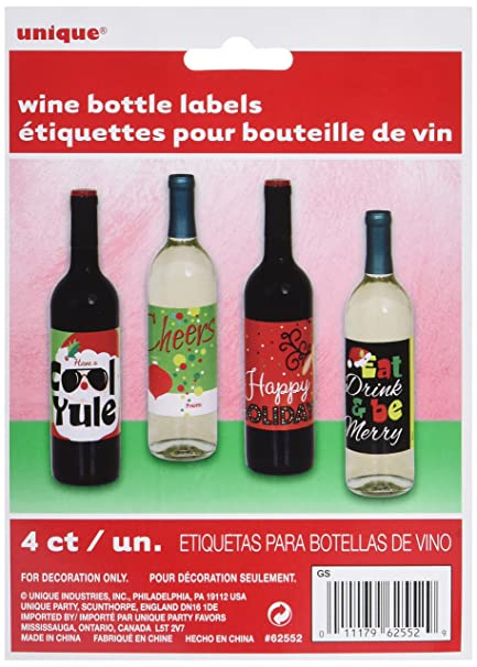 christmas gift wine bottle labels assorted 4ct