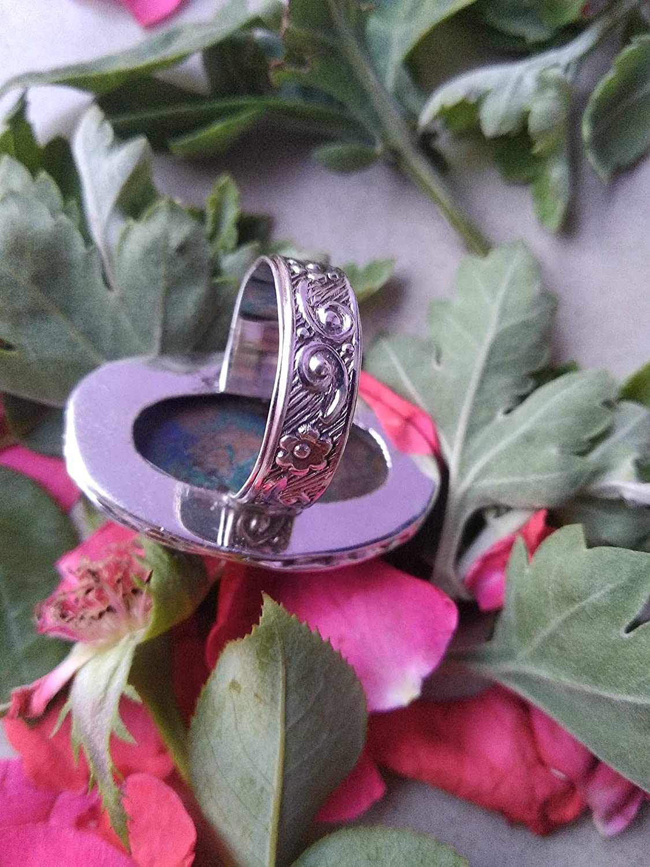 Gift Fashion Ring Handmade Ring,Statement Ring,Birthstone Azurite Malachite Ring,Sterling Silver Woman Ring,Gift Ring Statement Ring