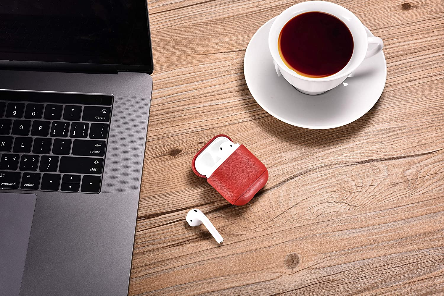 Protective Shockproof Handmade Premium Cover for Apple AirPods and AirPods with Wireless Charging Case Nappa Red AirPods Case Leather