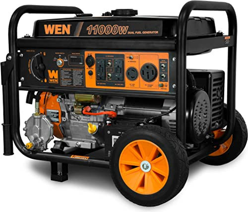 WEN DF1100T 11,000-Watt 120V 240V Dual Fuel Portable Generator with Wheel Kit and Electric Start – CARB Compliant, Black