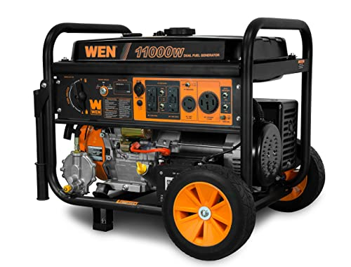 WEN DF1100 11,000-Watt 120V 240V Dual Fuel Portable Generator with Wheel Kit and Electric Start – CARB Compliant