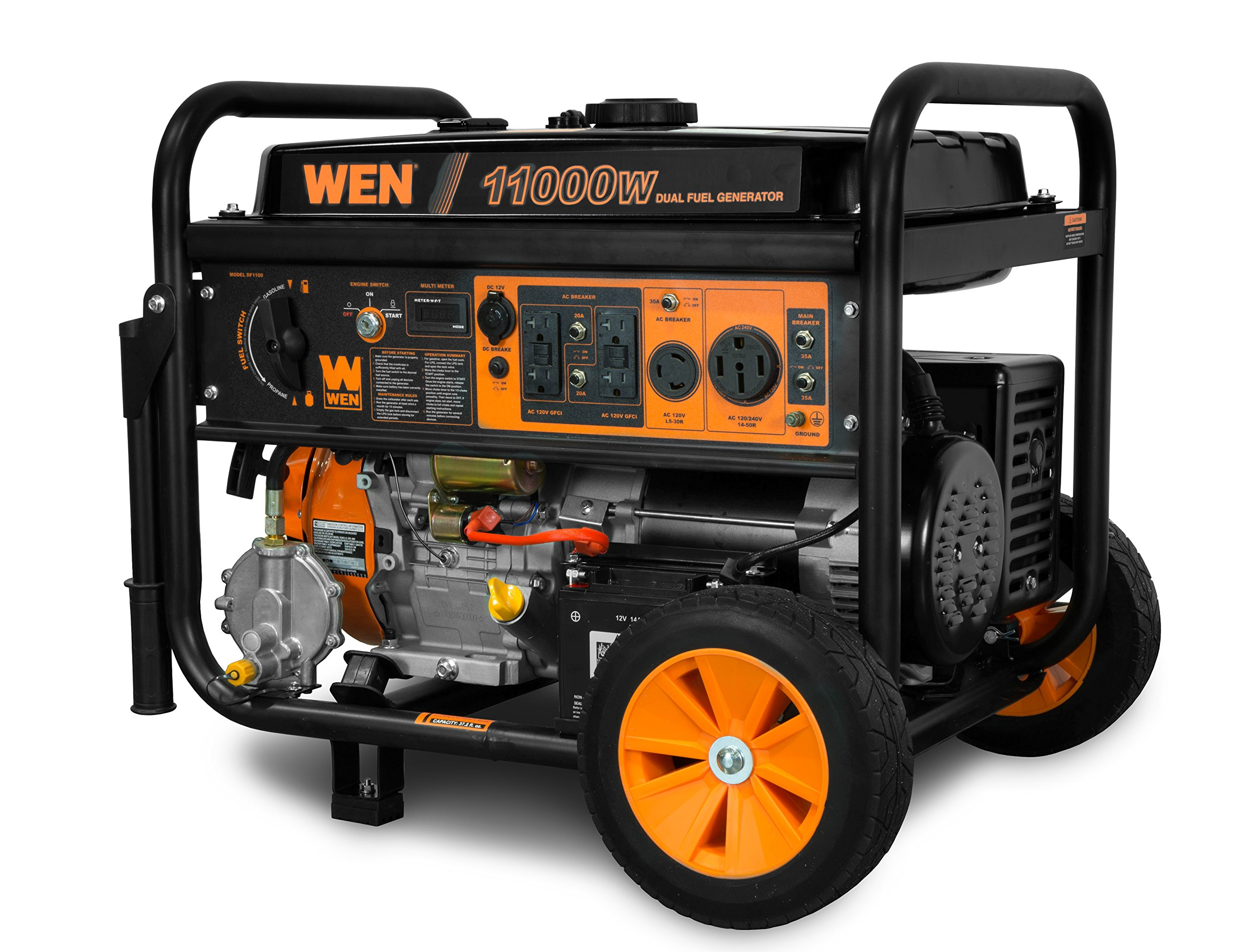 WEN DF1100 11,000-Watt 120V/240V Dual Fuel Portable Generator With Wheel Kit And Electric Start –