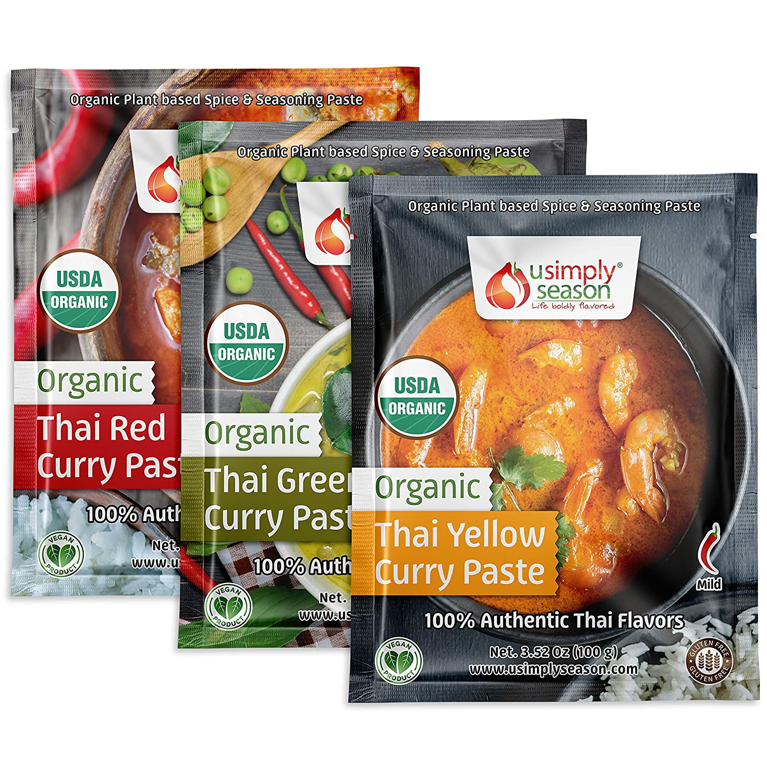 USimplySeason Organic Thai Spice Seasoning Paste Bundle - Yellow Curry, Green Curry & Red Curry (100g each)