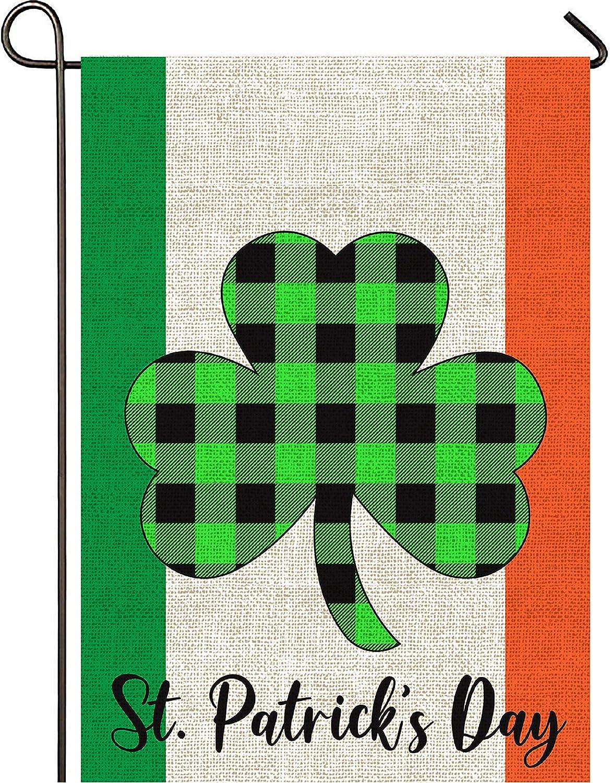 Mogarden St. Patrick's Day Ireland Garden Flag, Double Sided, 12.5 x 18 Inches, Irish Shamrock Buffalo Check Plaid Thick Weatherproof Burlap Yard Flag