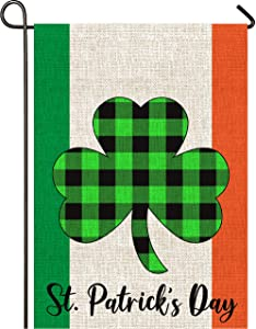 Mogarden St. Patrick's Day Ireland Garden Flag, Double Sided, 12.5 x 18 Inches, Irish Shamrock Buffalo Check Plaid Thick Weatherproof Burlap Yard Flag