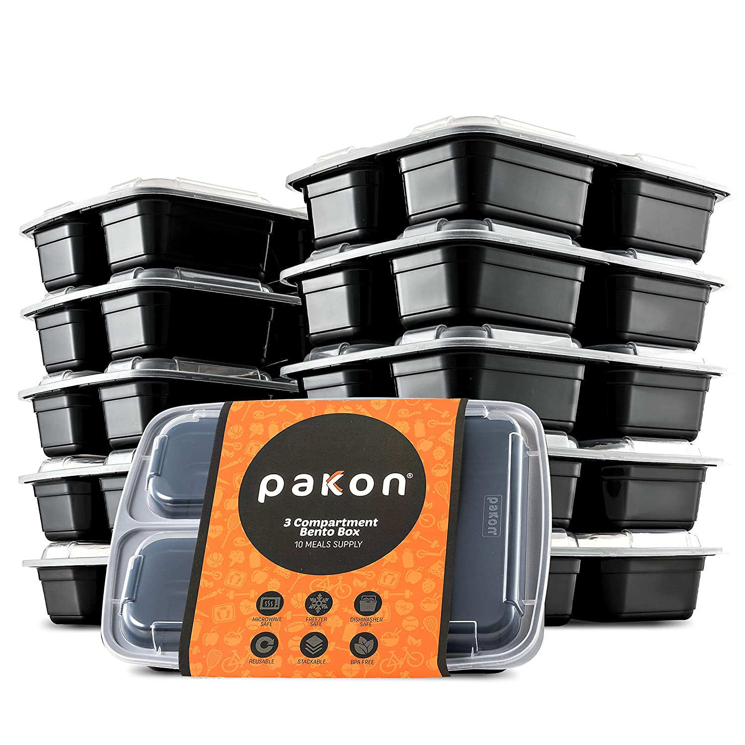 Pakkon 3 Compartment Bento Box with Airtight Lid, 10 Pack Pakkon-3x10