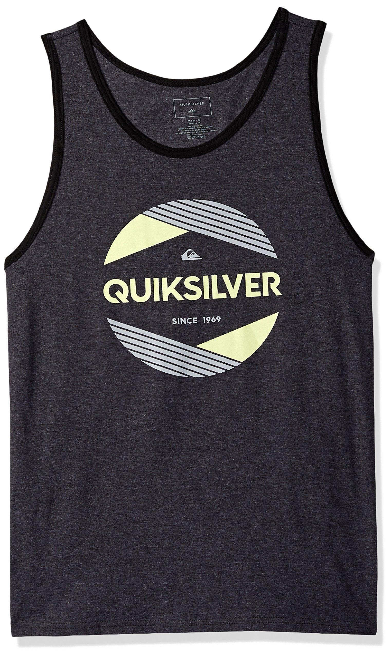 Quiksilver Men's Logo Tank Top Tee Shirt, a Cut Above Charcoal Heather, M