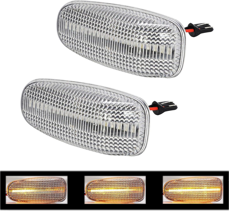 sequentielle Blinkleuchte W210 klare Linse 2x LED dynamische Seitenblinker von BLUETECH Blinker