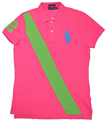Ralph Lauren Womens Big Pony Polo Shirt 1293748 Bright Pink (Small)