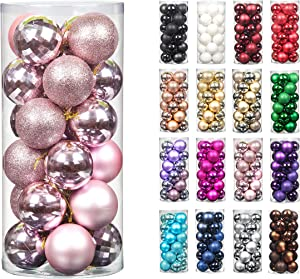 24pcs 2.36in 60mm Christmas Decoration Balls Shatterproof Color Set Ornaments Balls for Festival Wedding Home Party Decors Xmas Tree Hanging (Pink)