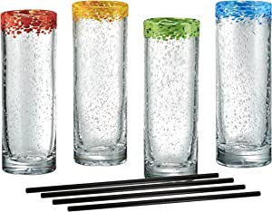 Artland Mingle Cooler Glasses with Reusable Straws, Clear, Set of 4