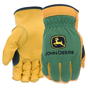 West Chester John Deere JD00008 Top Grain Deerskin Leather Driver Gloves – [1 Pair] Large, Spandex Back, Shirred Elastic, Slip-On Cuff, Keystone Thumb