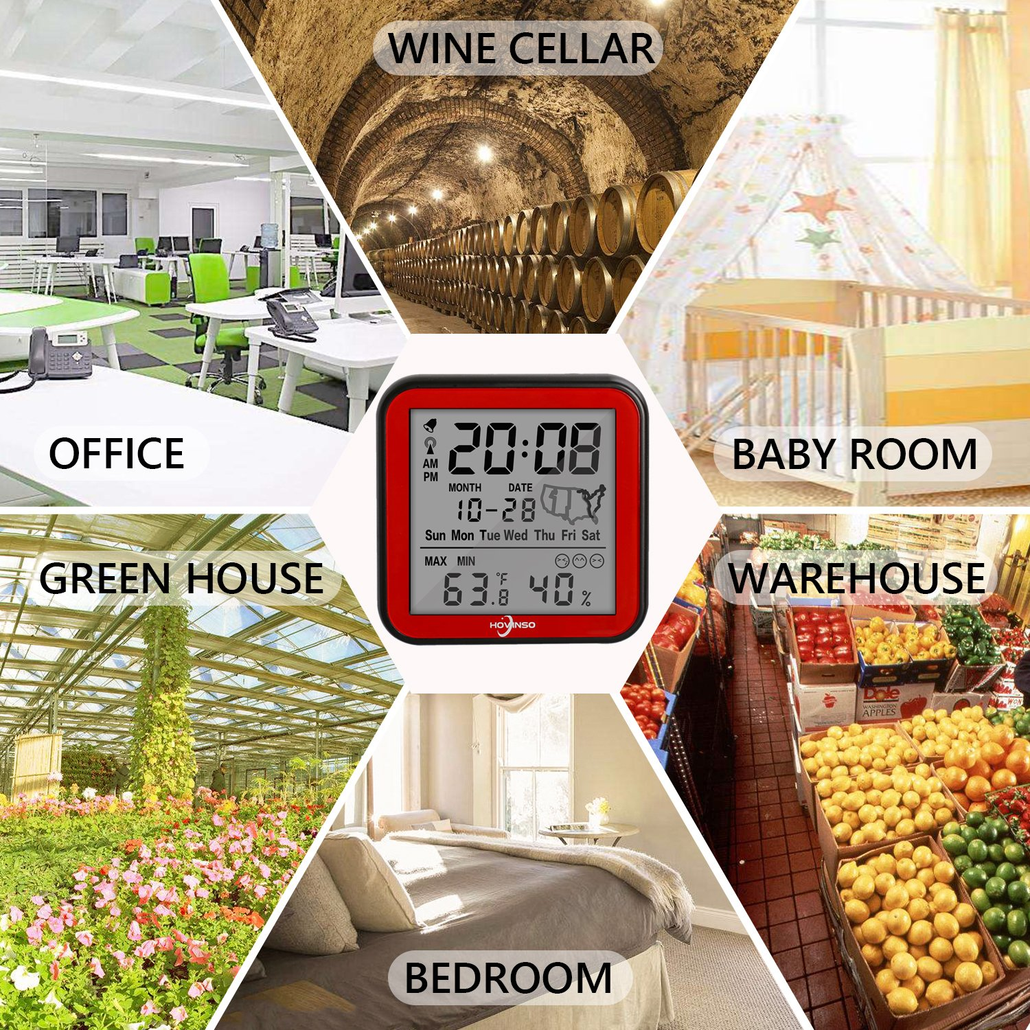 Hovinso Weather Station Clock with Temperature and Humidity Monitor, Indoor Wireless Radio Atomic Alarm Clock for Home Bedroom by Hovinso (Image #5)
