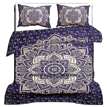 Blau Gold Muster, Indischen Mandala Bettbezug, Bohemian Traditionelle  Indische Mandala, Queen Steppdecke Indian