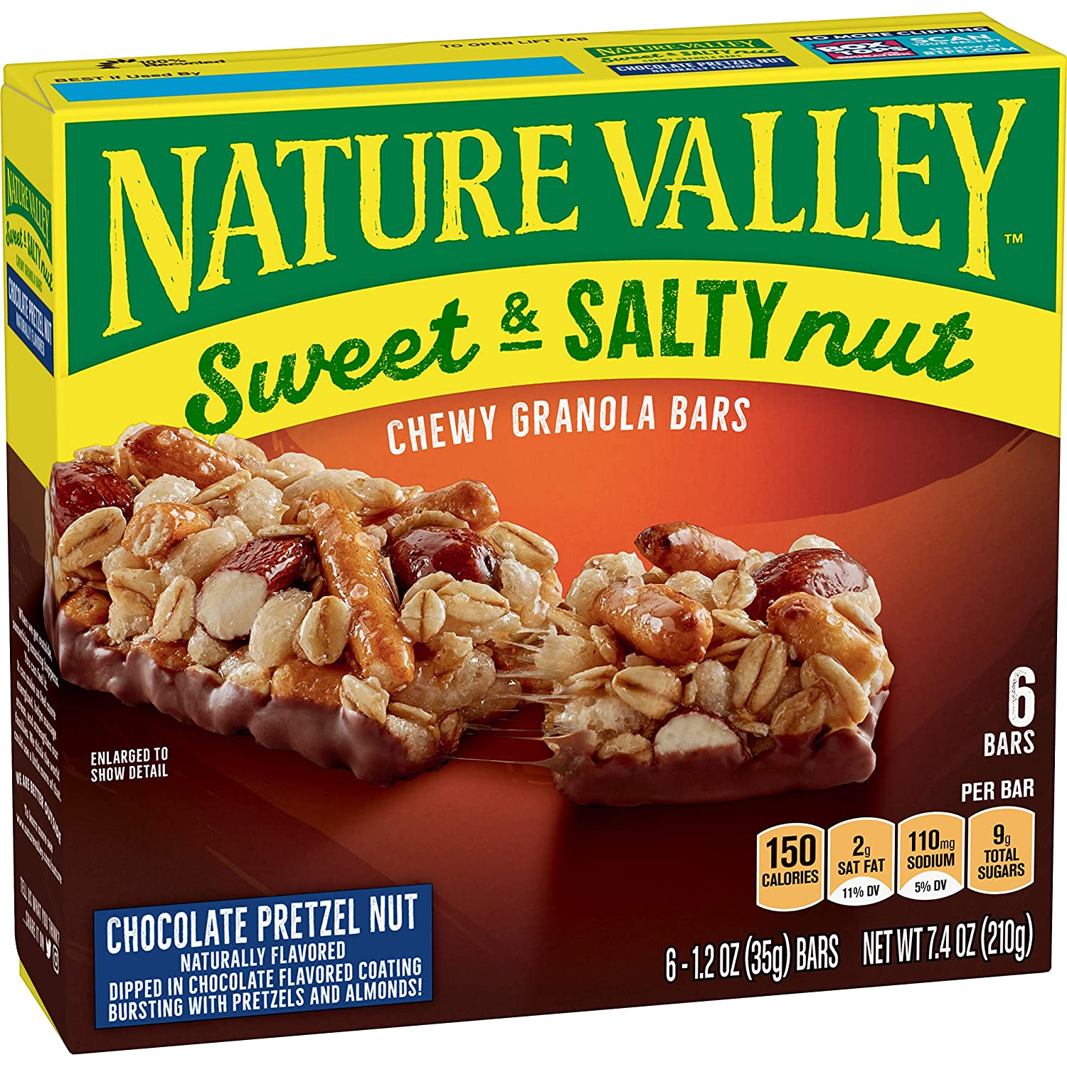Nature Valley Granola Bars, Sweet And Salty Nut, Chocolate Pretzel Nut, 1.2 Oz Bars, 6 Ct