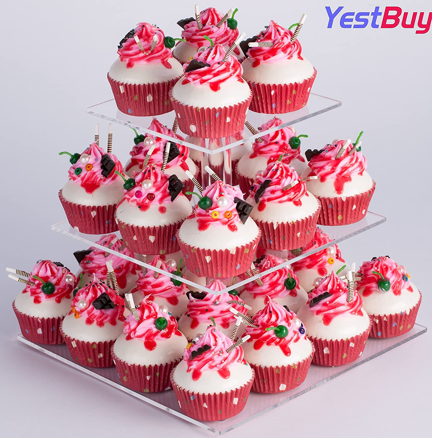 Amazon.com | YestBuy 3 Tier Clear Square Acrylic Tree Cupcake Tower ...