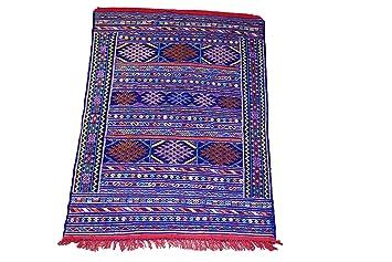 Moroccanity Beni Ourain Bleu Avec Orange Rose Et Jaune Designs