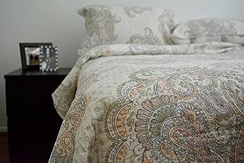Amazon.com: Tache 3 Piece 100% Cotton Paisley French Golden Garden ... : 100 cotton quilts king - Adamdwight.com