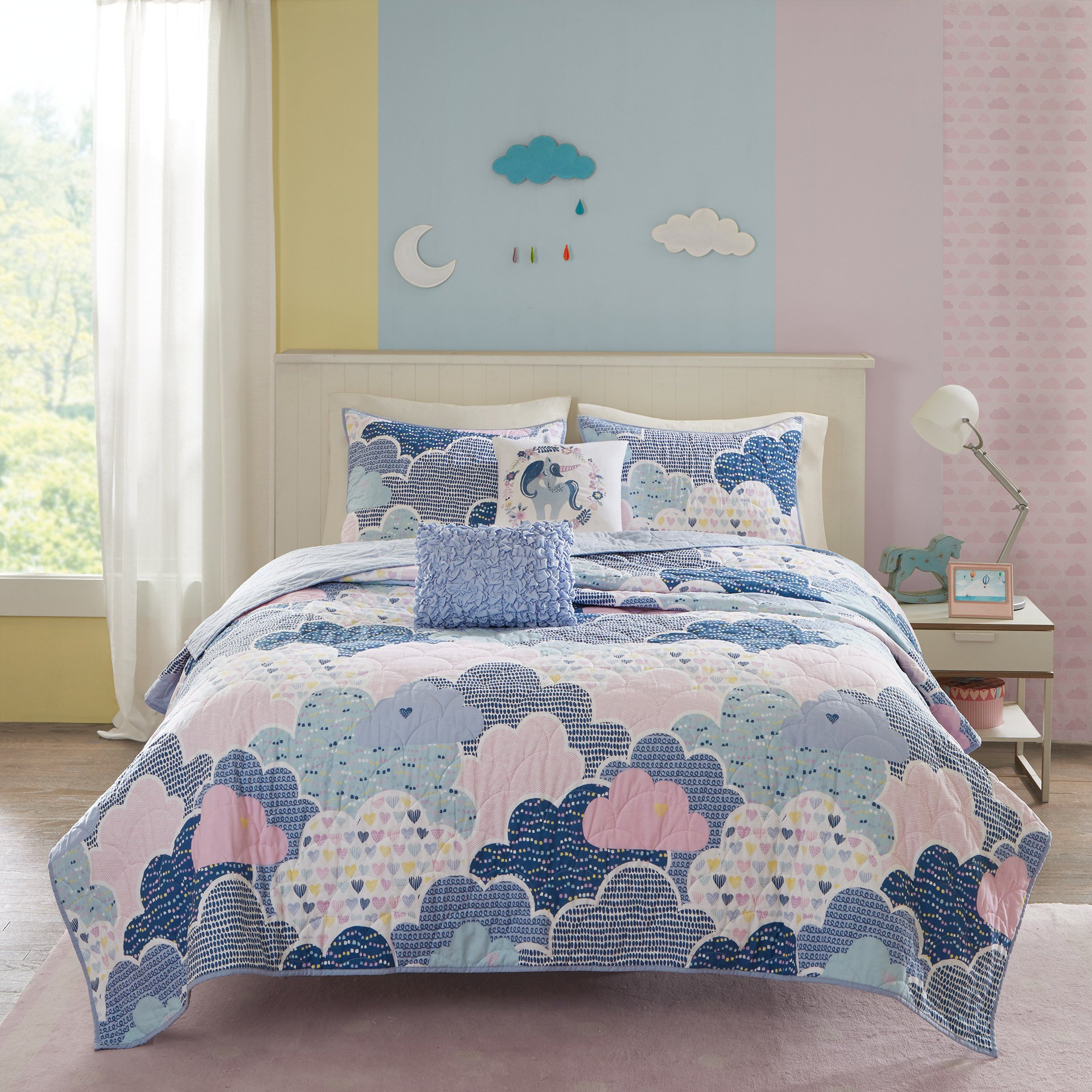 5 Piece Girls Blue Pink Purple White Color Cloud Themed Coverlet Full Queen Set, Sky Clouds Bedding, Playful Fun Polka Dot Heart Love Swirl Dots Pattern, Cotton by ON (Image #1)