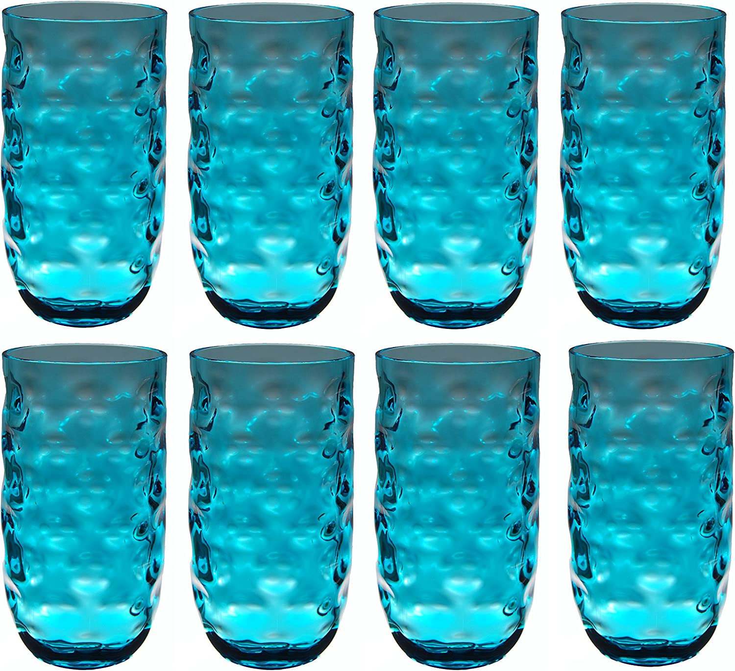 QG Clear Colorful Acrylic Plastic 22 oz. Water Cup Drinking Glass Tumbler Set of 8 Blue