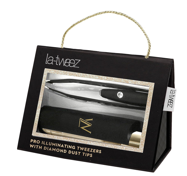 Black PRO Illuminating Tweezers & Mirrored Carry Case with Diamond Dust Tips La-tweez