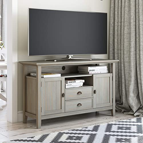 SIMPLIHOME Redmond SOLID WOOD Universal Tall TV Media Stand