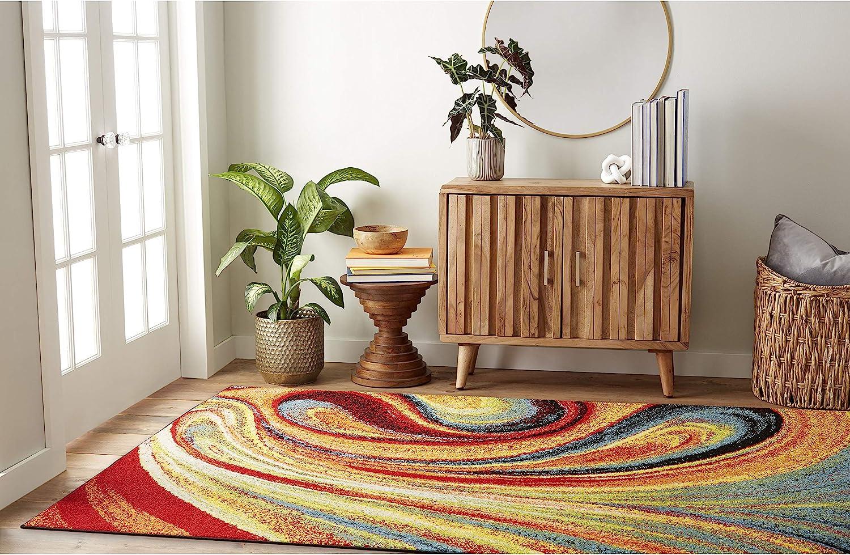 "Home Dynamix Splash Adja Modern Area Rug, Abstract Red/Blue 3'3""x4'3"""