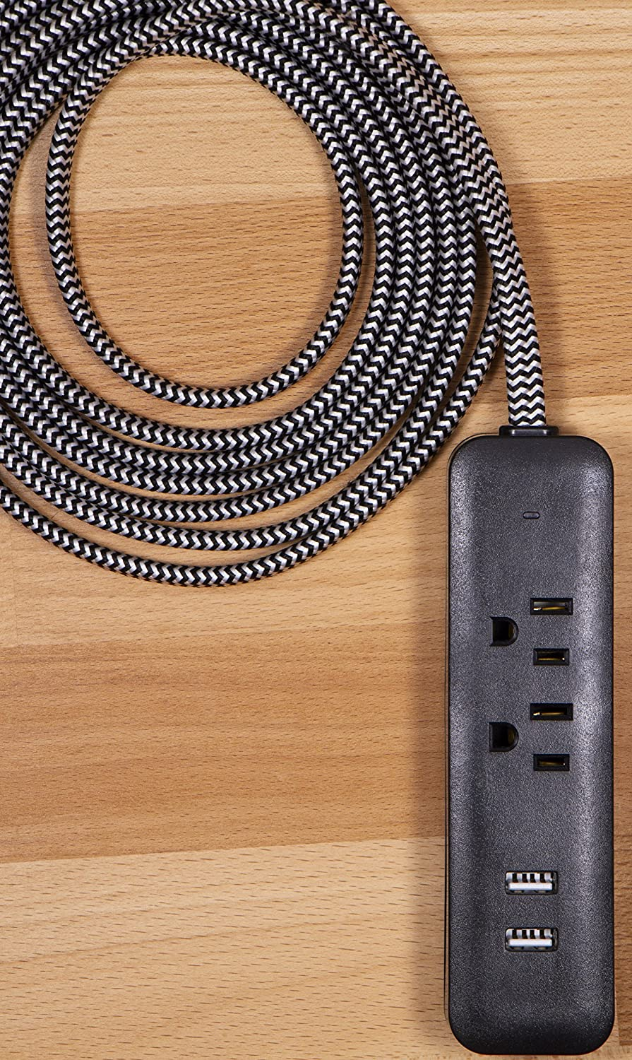 Cordinate Designer 3 Outlet Extension Cord With Surge Protection And Plug Safety For Electric Kilns Mint Braided Dcor Fabric