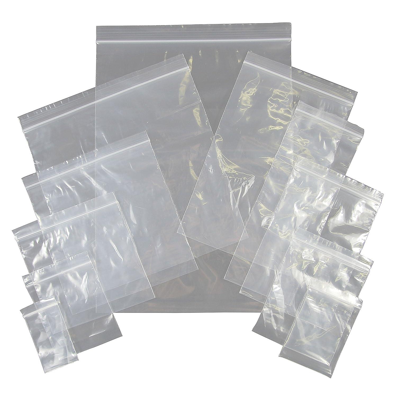 Bustine a tenuta resistente –  richiudibili –  con zip, riutilizzabili  –  Tinta unita, trasparenti –  Misurate in millimetri, Clear, 40x40 riutilizzabili -Tinta unita TopDeals4You