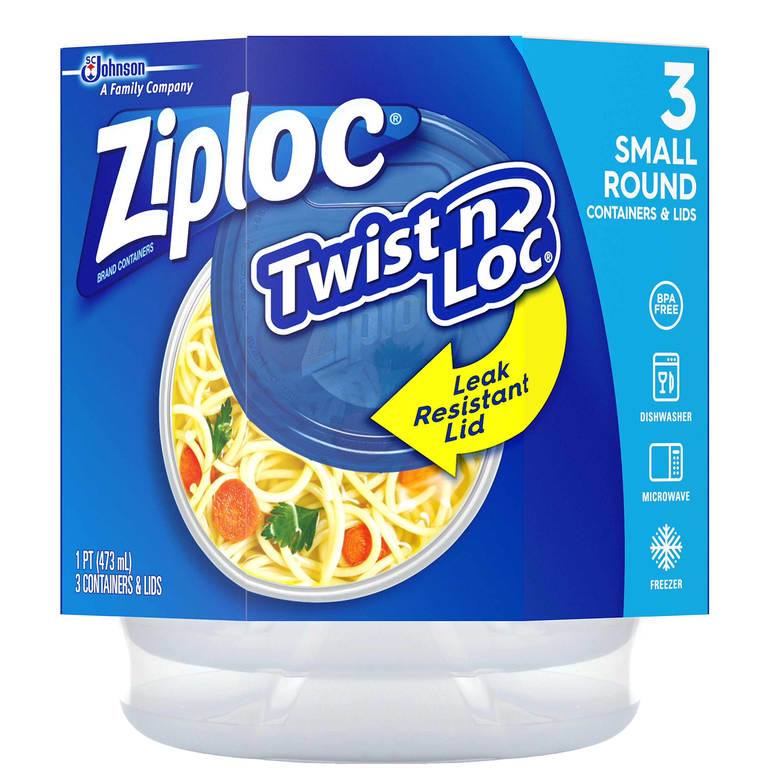 Ziploc Twist N Loc Containers, Small 3 Containers and 3 Lids (Pack of 2)