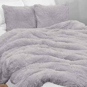 KB & Me Boho Grey Fuzzy Faux Fur Plush Duvet Comforter Cover and Sham 3 pc. Soft Shaggy Fluffy Full/Queen Size Bedding Set Gray Luxury College Dorm Teen
