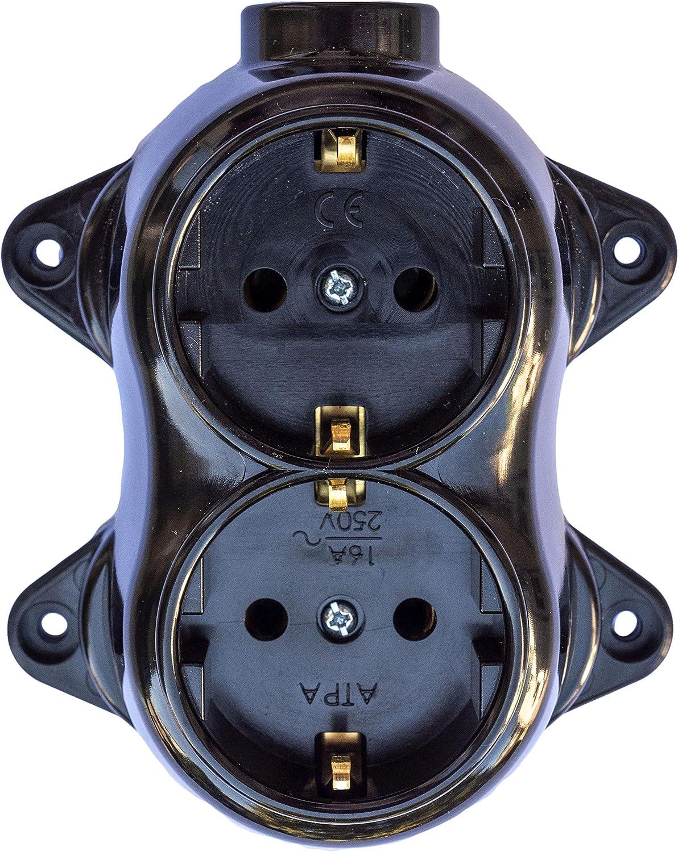 RETRO FEST Prise de courant r/étro 2 prises 16A-250 V en laiton /épais Noir