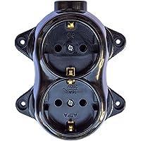 Dubbel stopcontact, retro, 16 A - 250 V, met messing, dik, zwart, bakeliet-look, doet denken aan hout