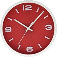 Uniware CL390RD Fancy Wall Clock, Silent Non Ticking Quality Quartz Battery Operated (Red)