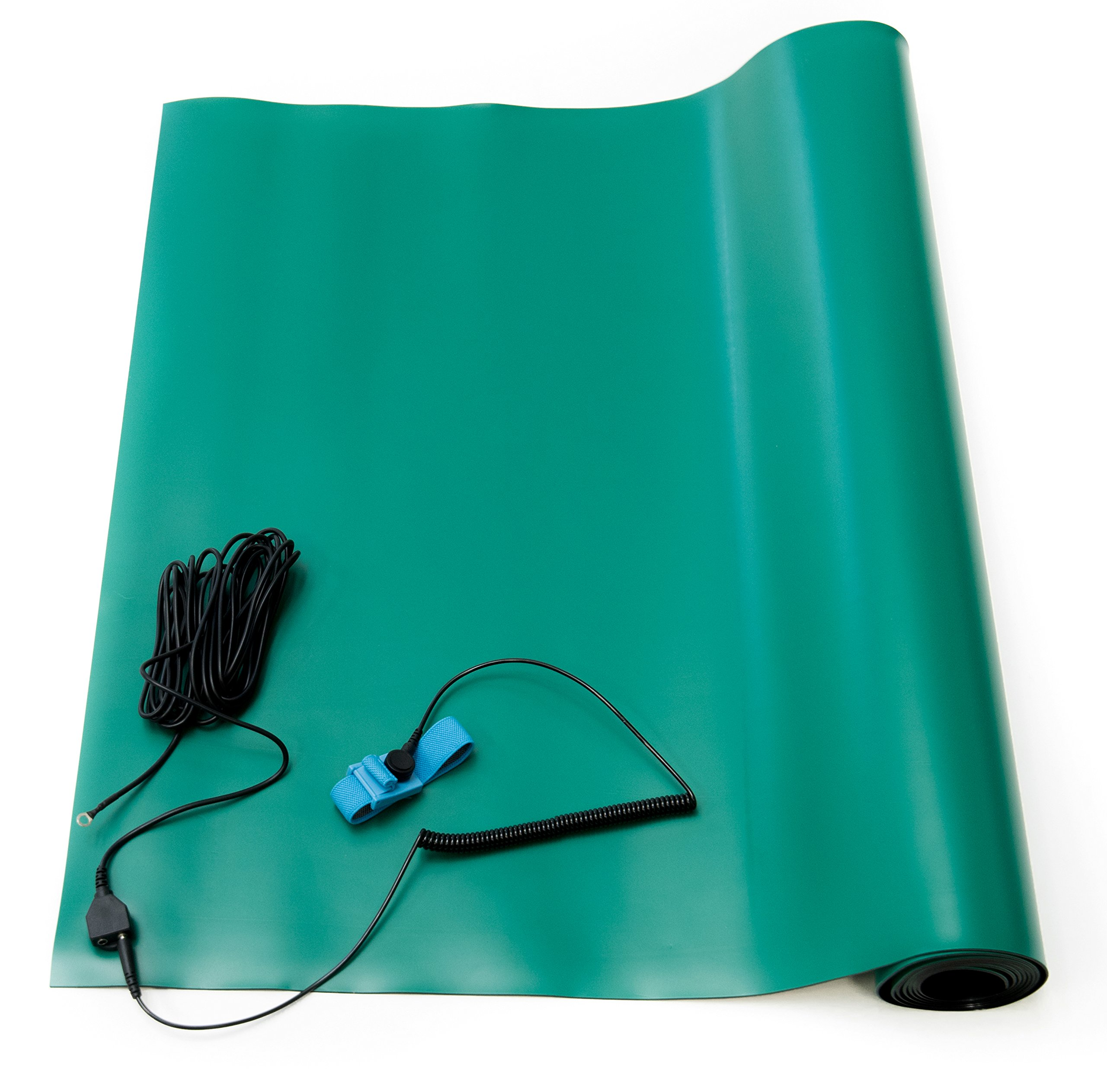 Bertech ESD High Temperature Rubber Mat Kit with a Wrist Strap and Grounding Cord, 2.5' Wide x 4' Long x 0.08'' Thick, Green