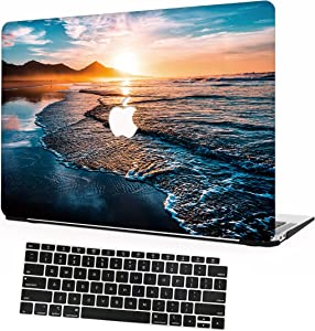 AOMO MacBook Pro 13 Inch Case 2020 Release A2338 M1/A2289/A2251, Colorful Pattern Plastic Hard Case with Keyboard Cover for Newest MacBook Pro 13 Inch with Touch Bar and Touch ID - Beach