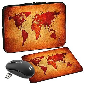 PEDEA Set 020-66060626 Carcasas Diseño Mapa Global para portátil (13,3 Pulgadas (33,7 cm), ratón inalámbrico, Mouse Pad) marrón