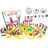 Kids Play Kitchen Cookware sets stainless steel Pots and pans set with plastic food by Jogo Jogo Kitchen sets - Play food kitchenware for Kids Kitchen utensils set kitchen play set pretend food play