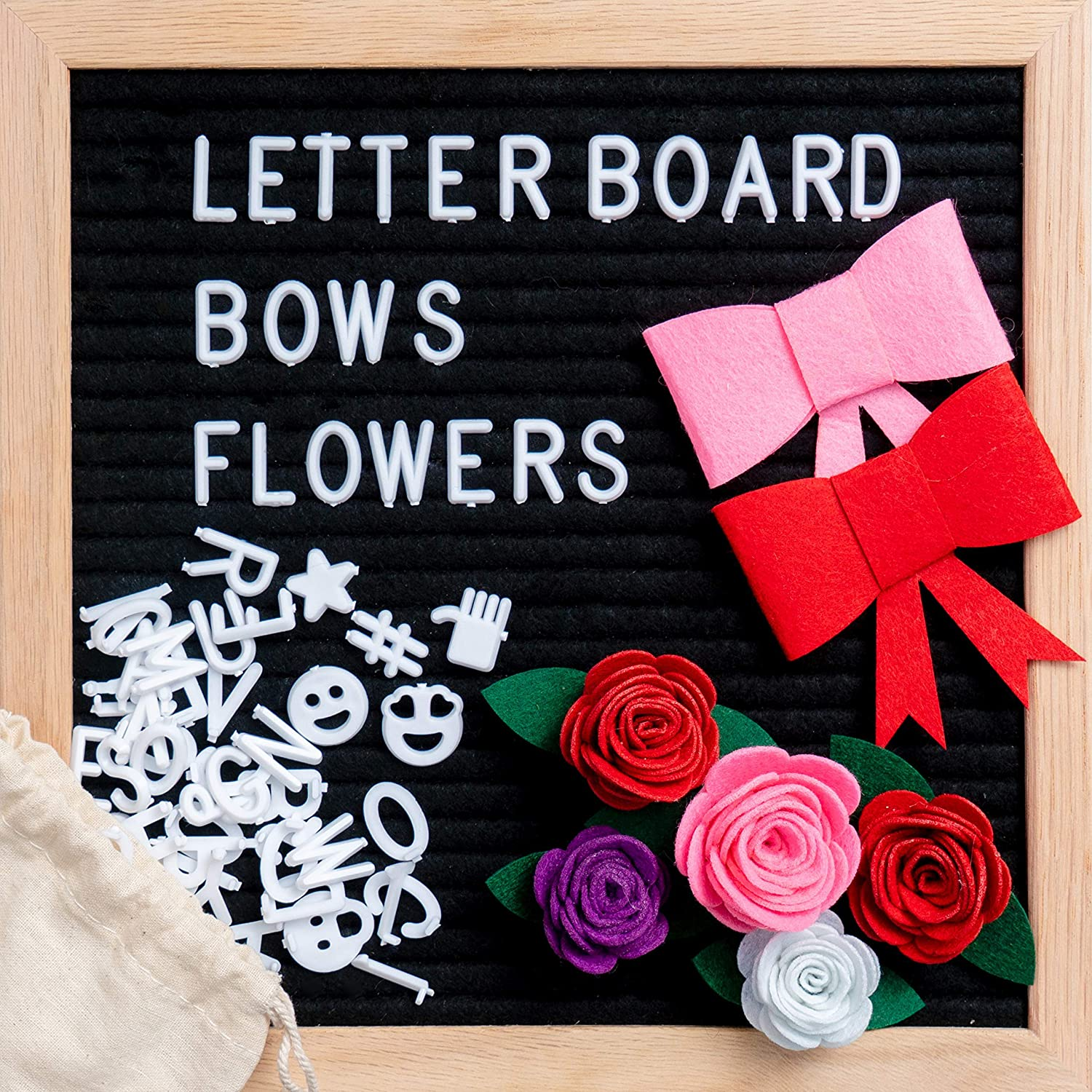Black Felt Letter Board 10 x 10 inch Changeable Letter Board Bulletin Message - Includes 340+ White Letters Symbols Emojis with Stand, Oak Frame, Felt Flowers, Red Pink Bows, Canvas Bag, Wall Mount. Storilla Store