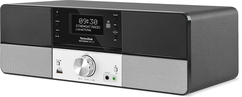 Digitalradio mit Stereo Lautsprechern TechniSat DIGITRADIO 360 CD Musikbox mit integriertem Radiowecker /& CD Player DAB+ /& UKW Radio