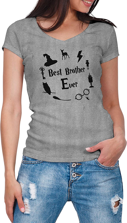 ZYDUVA Best Brother Ever Gris Camisa con Cuello de Pico para Mujer