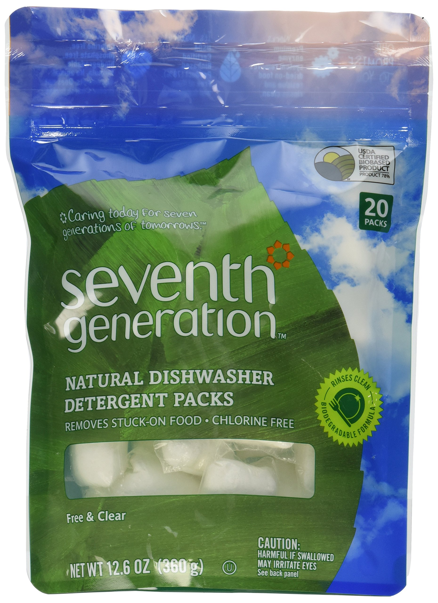 Seventh Generation Auto Dish Packs, Free and Clear, 20-Count, Packaging May Vary (Pack of 4)