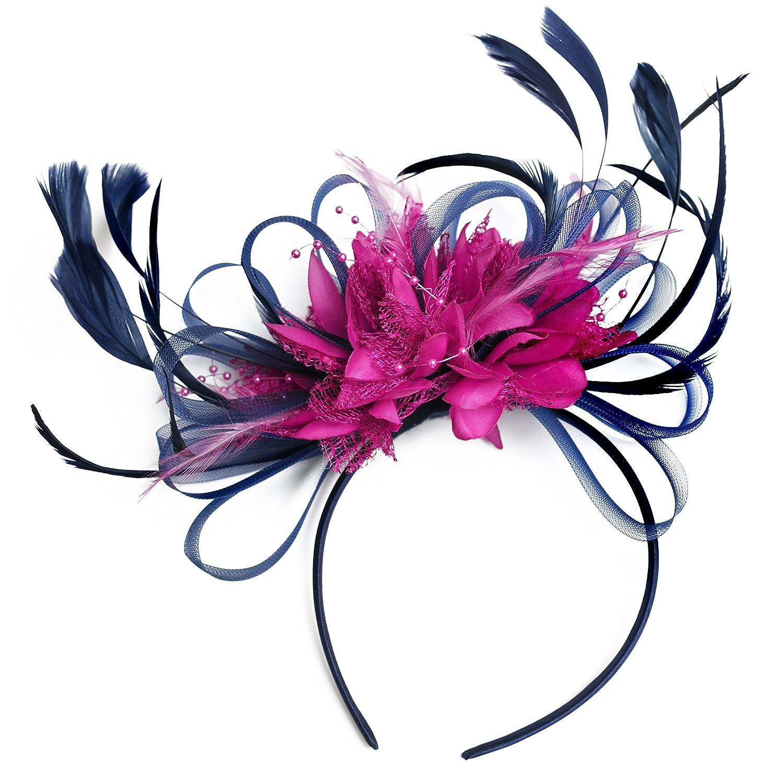 Navy Blue and Hot Pink Fuchsia Feather Hair Fascinator Headband Wedding Royal Ascot Races Ladies navy_hotpink_hoopmix